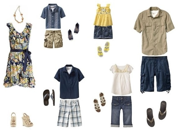 what to wear family portrait blue and yellow