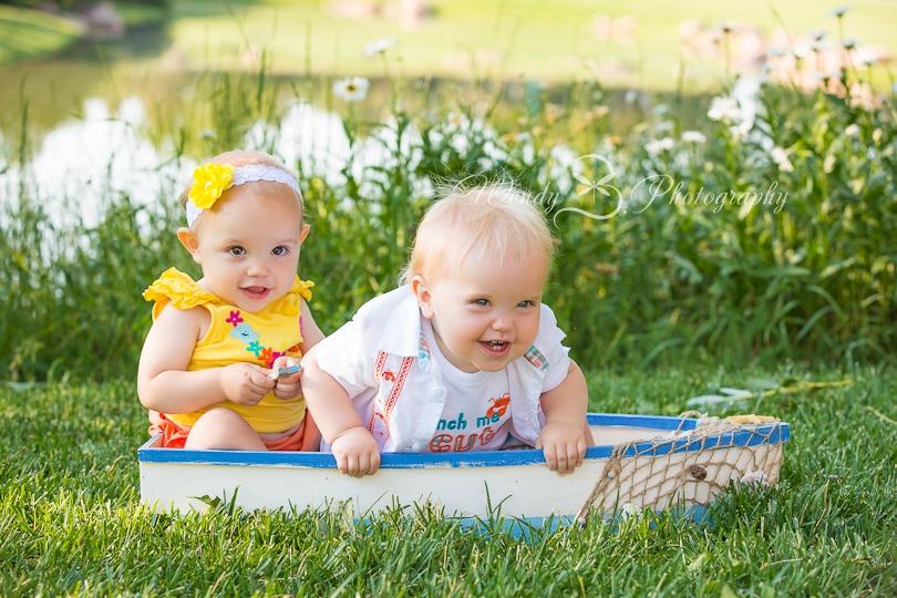 twin portrait in a boat